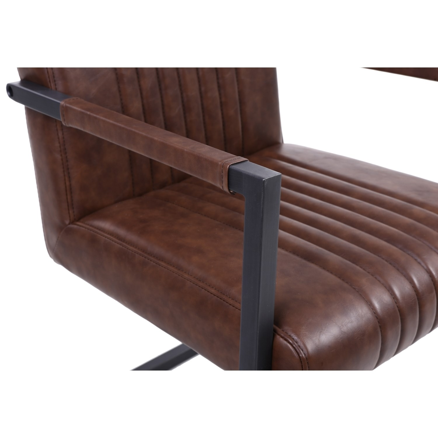 Archer Cantilever Leather Match Brown Carver Chairs (Pair ...